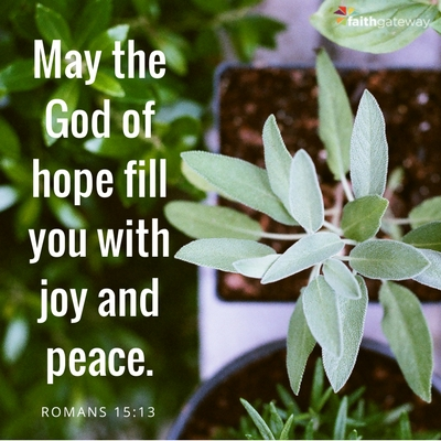 May the God of hope fill you with joy