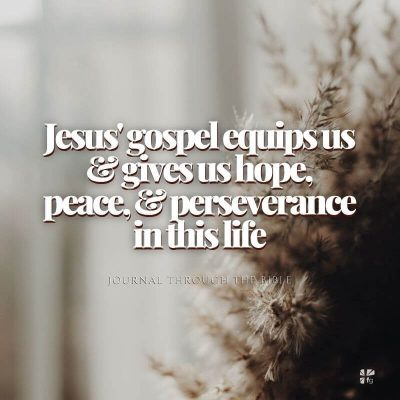 Jesus' gospel equips us & gives us hope, peace & perseverance in this life.