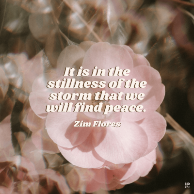 It is in the stillness of the storm that we will find peace.