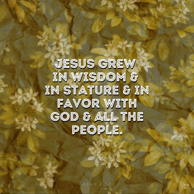 Jesus grew in wisdom and in stature and in favor with God and all the people.