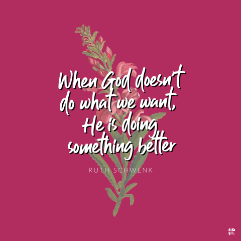 When God doesn't do what we want, He is doing something better.